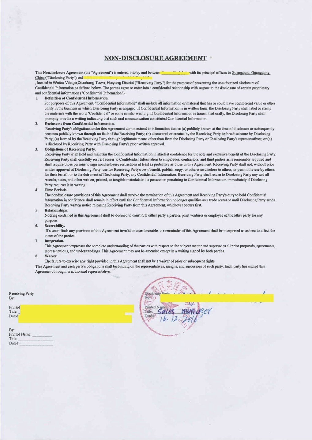 Do Contracts Matter In China – Enter China Within Non Disclosure Non Circumvention Agreement Template