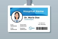 Doctor Id Card Medical Identity Badge Template Vector Image throughout Doctor Id Card Template