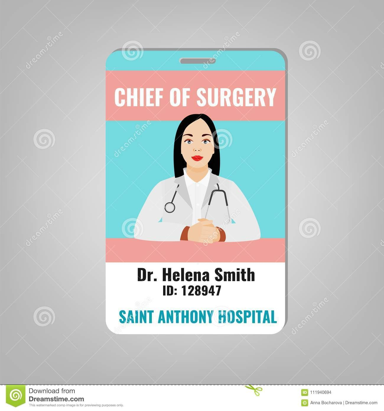 Doctor Id Card Stock Vector Illustration Of Doctor Throughout Hospital Id Card Template