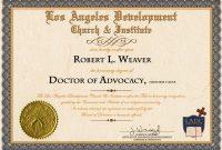 Doctorate Degree Certificate Template  Mandegar in Doctorate Certificate Template