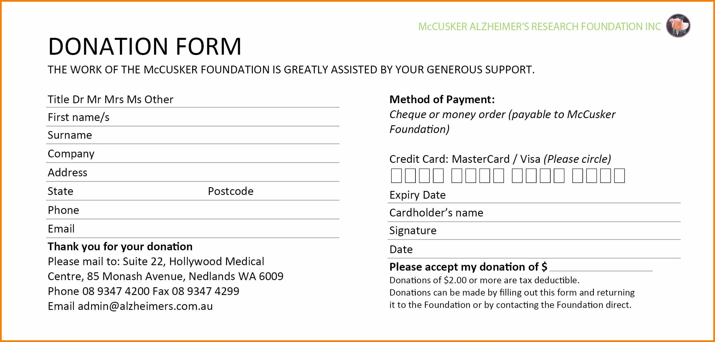 Donation Forms Templates Free  Instinctual Intelligence With Regard To Donation Card Template Free