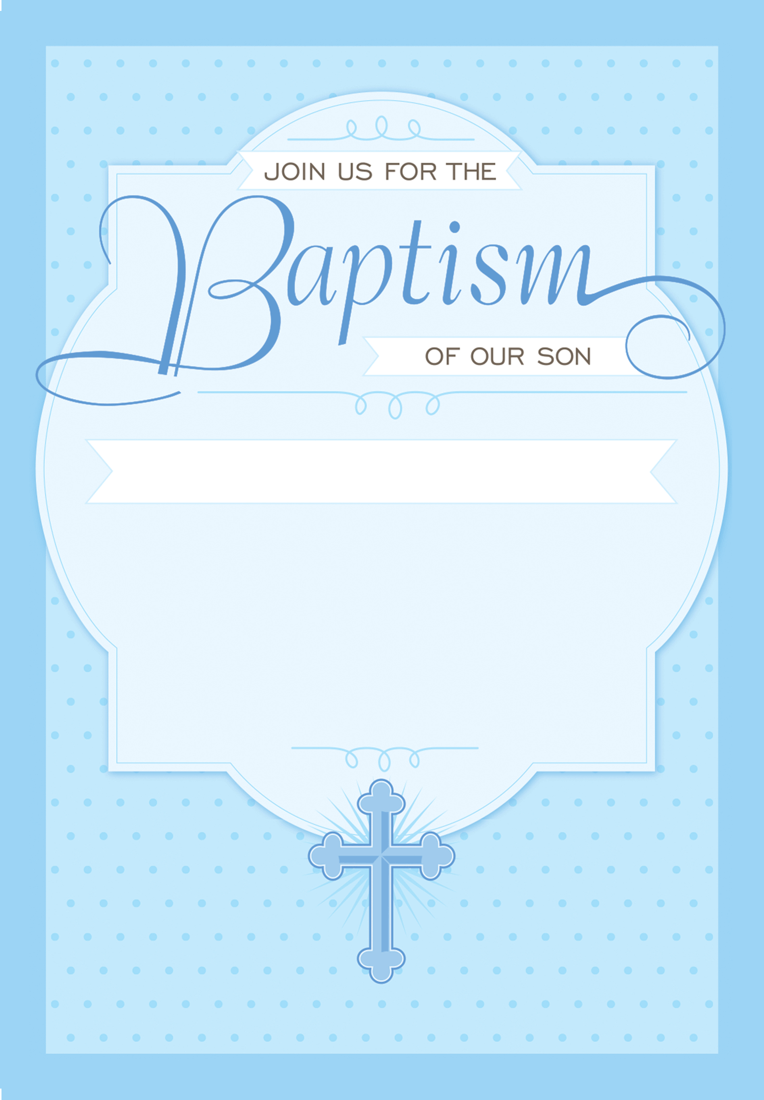 Dotted Blue  Free Printable Baptism  Christening Invitation Within Blank Christening Invitation Templates