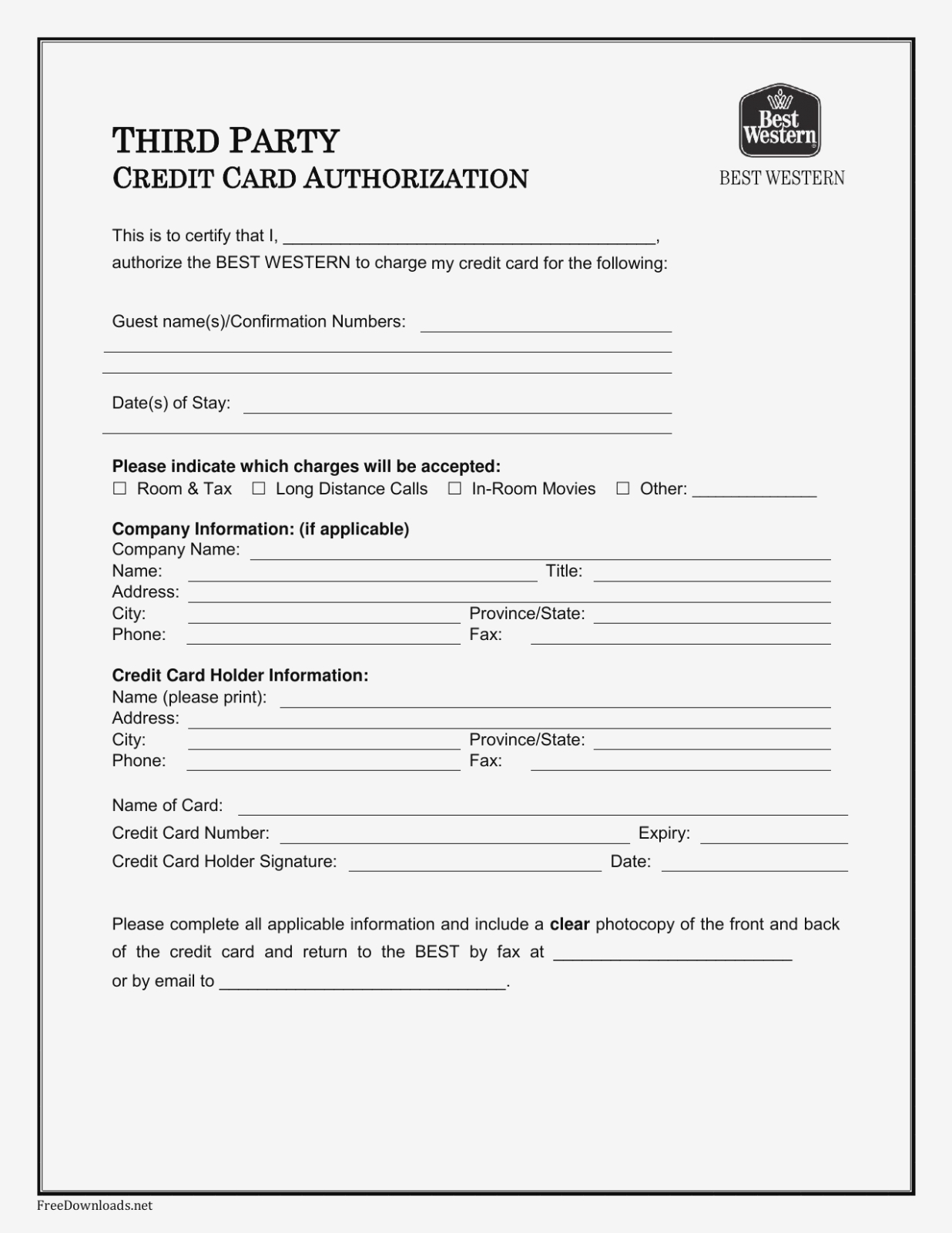 Download Best Western Credit Card Authorization Form Template  Pdf Intended For Credit Card Payment Form Template Pdf