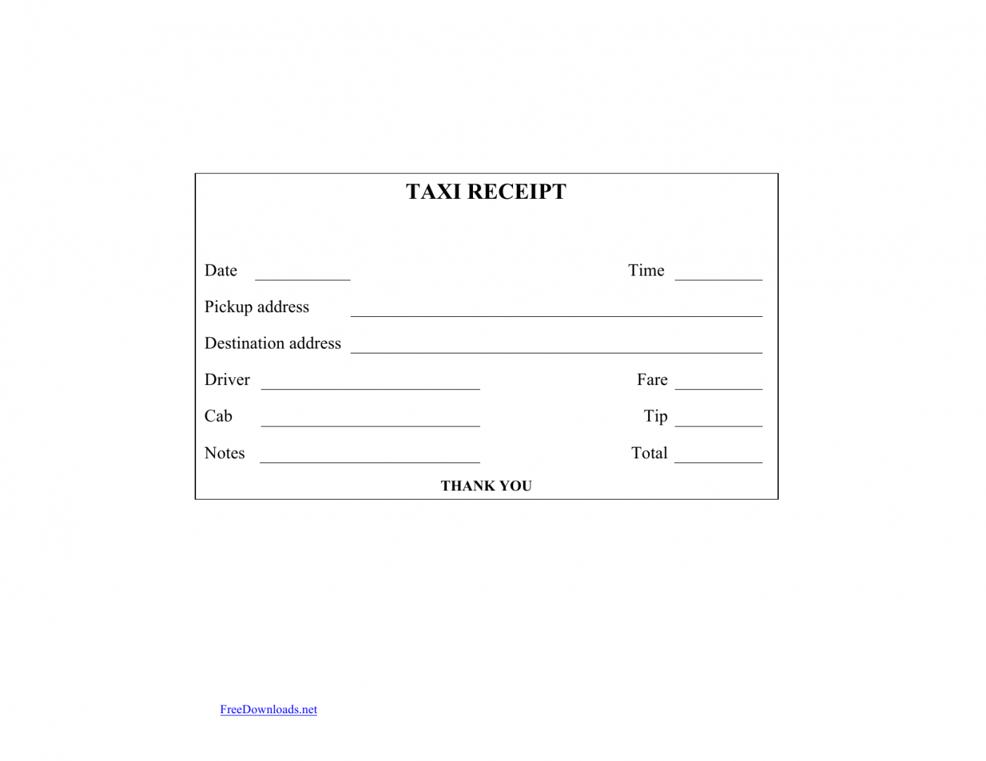 Download Blank Printable Taxicab Receipt Template  Excel  Pdf Intended For Blank Taxi Receipt Template