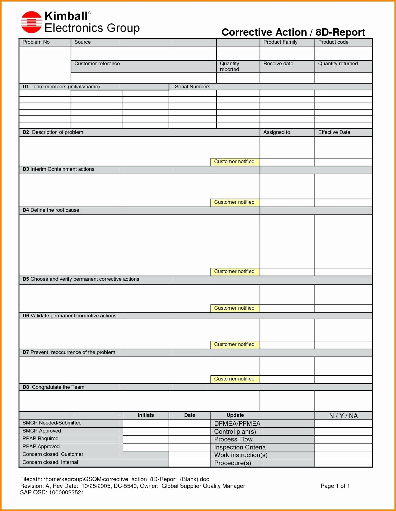 Download Example Corrective Action Report Template Form With Corrective Action Report Template