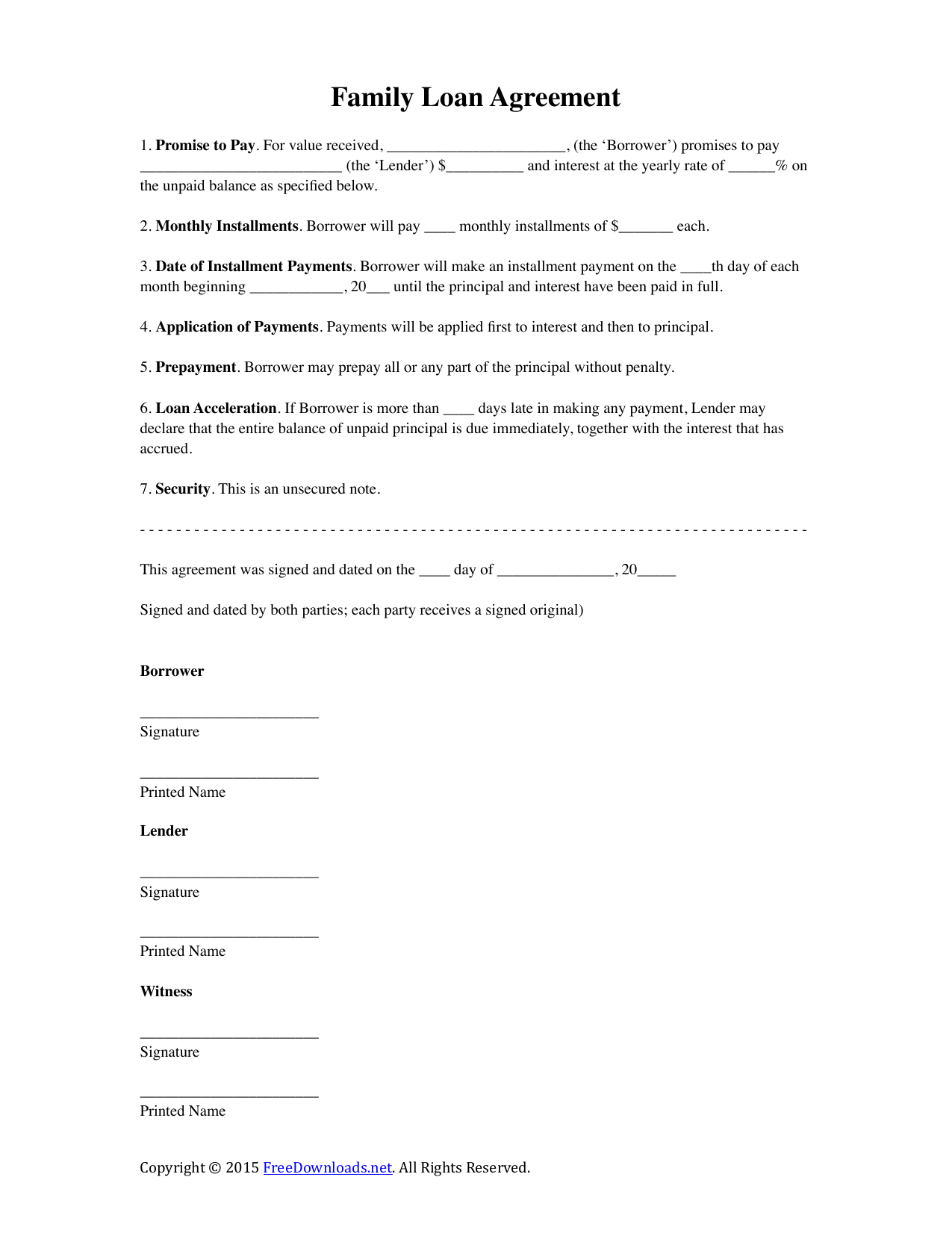 Download Family Loan Agreement Template  Pdf  Rtf  Word With Regard To Family Loan Agreement Template Free
