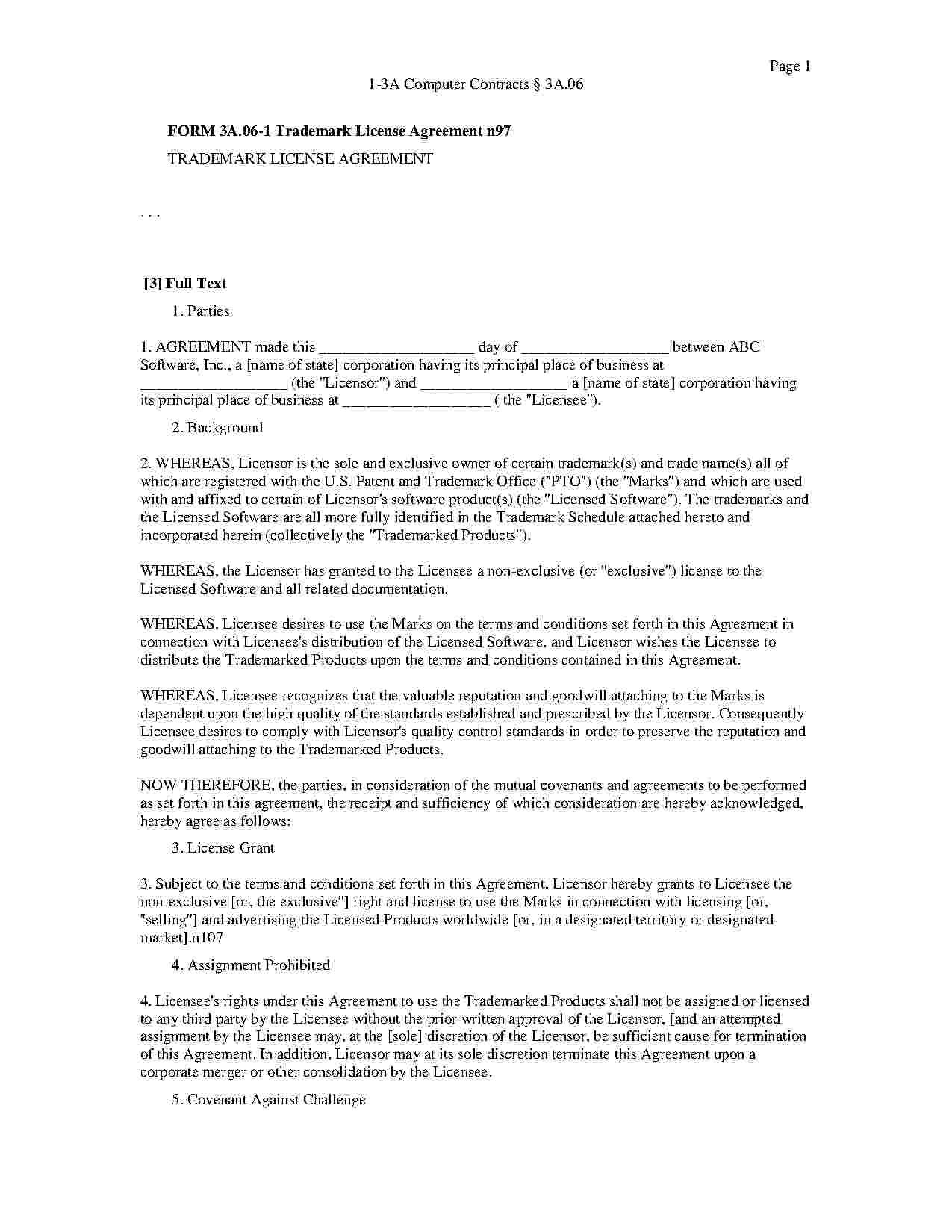 Download Licensing Agreement Style  Template For Free At Templates Inside Free Trademark License Agreement Template