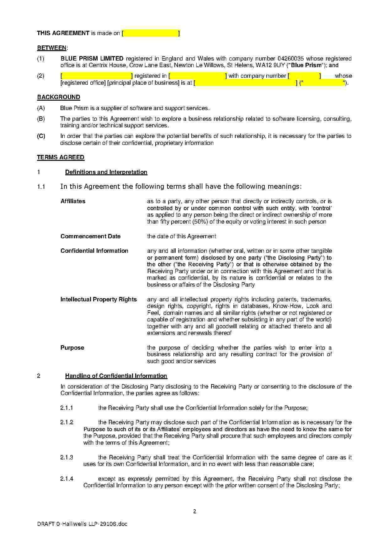 Download Mutual Non Disclosure Agreement Style  Template For Free In Mutual Non Disclosure Agreement Template