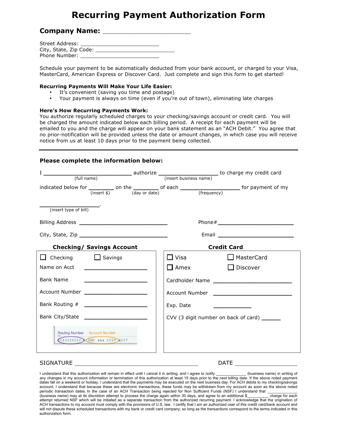 Download Recurring Payment Authorization Form Template  Credit Card With Credit Card Billing Authorization Form Template