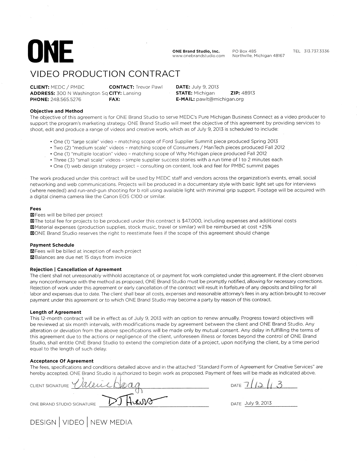 Download Sample Video Production Contract For Free  Formtemplate With Regard To Free Contract Manufacturing Agreements Templates