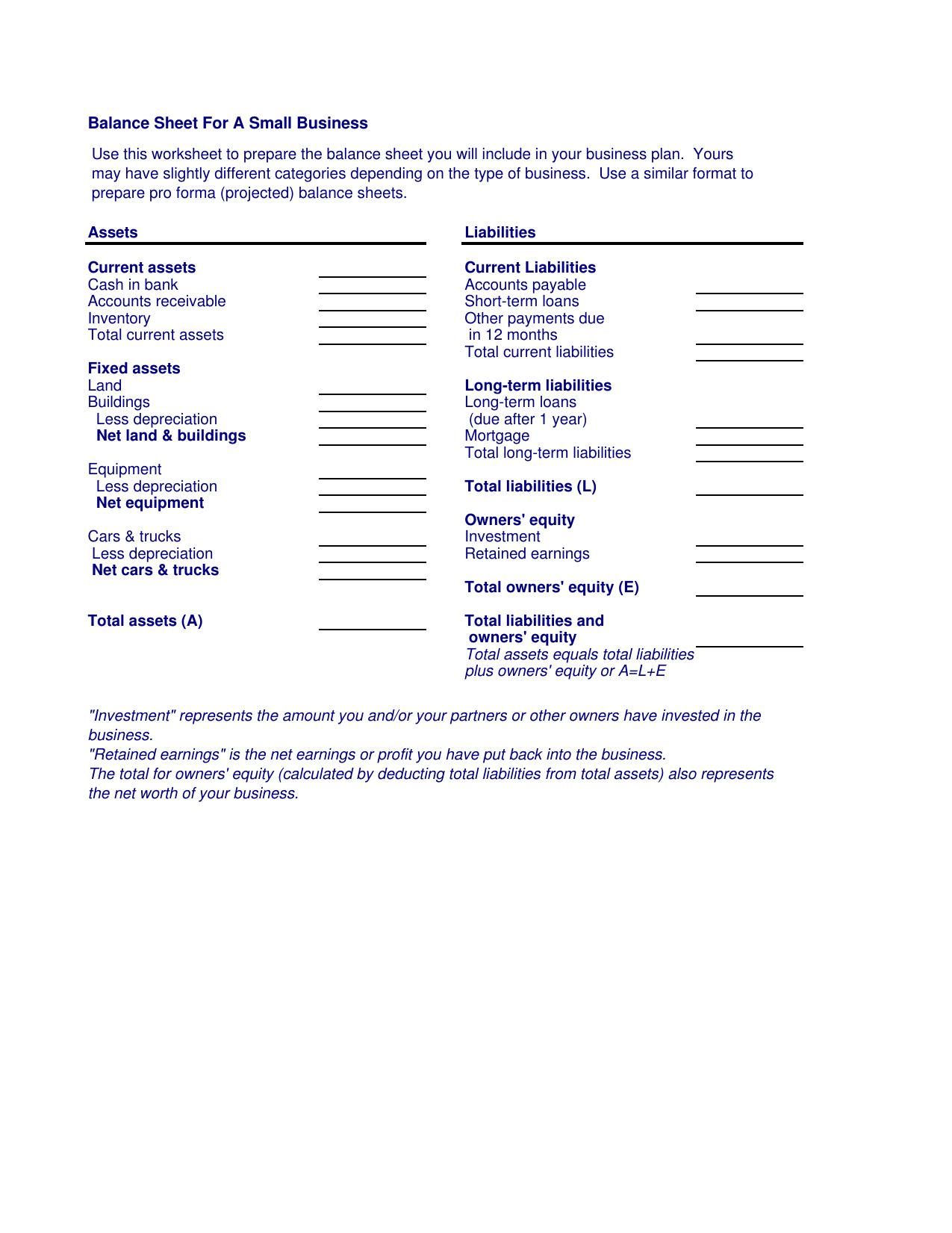 Download Small Business Balance Sheet Template  Excel  Pdf  Rtf Inside Small Business Balance Sheet Template