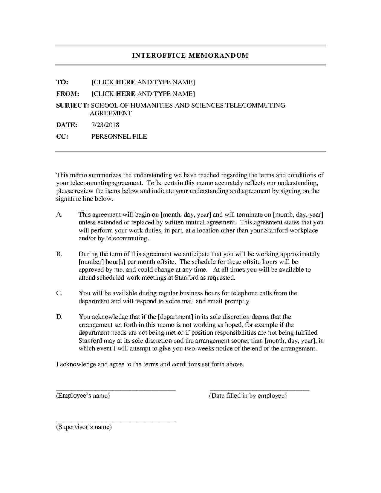 Download Telecommuting Agreement Style  Template For Free At Regarding Individual Flexibility Agreement Template