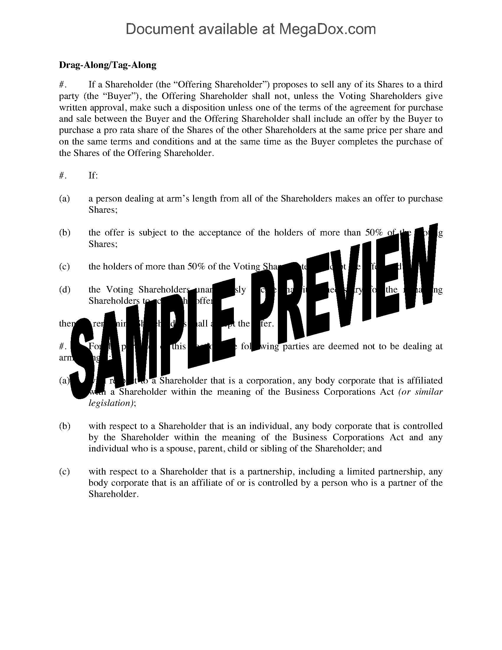 Drag Along Tag Along Clause For Shareholder Agreement  Legal Forms Intended For Minority Shareholder Agreement Template