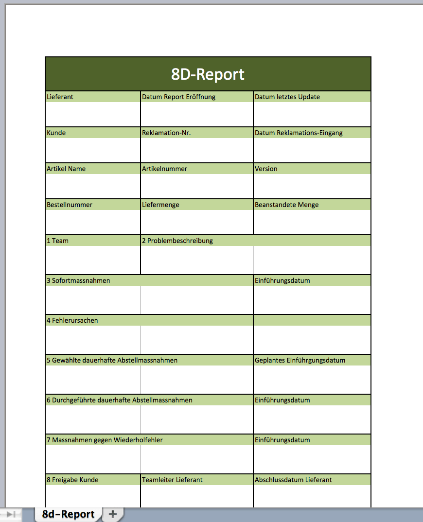 Dreport Als Excelvorlage  Excel Vorlagen Für Jeden Zweck Regarding 8D Report Template