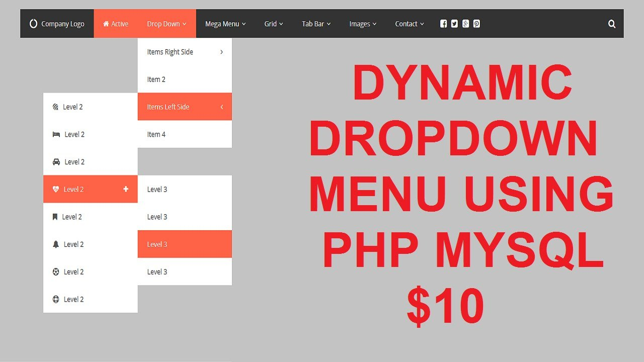 Dynamic Drop Down Menu In Php Mysql  Youtube In Html5 Drop Down Menu Template