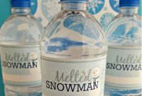 Easy Diy  Free Printable Melted Snowman Water Bottle Labels pertaining to Diy Water Bottle Label Template