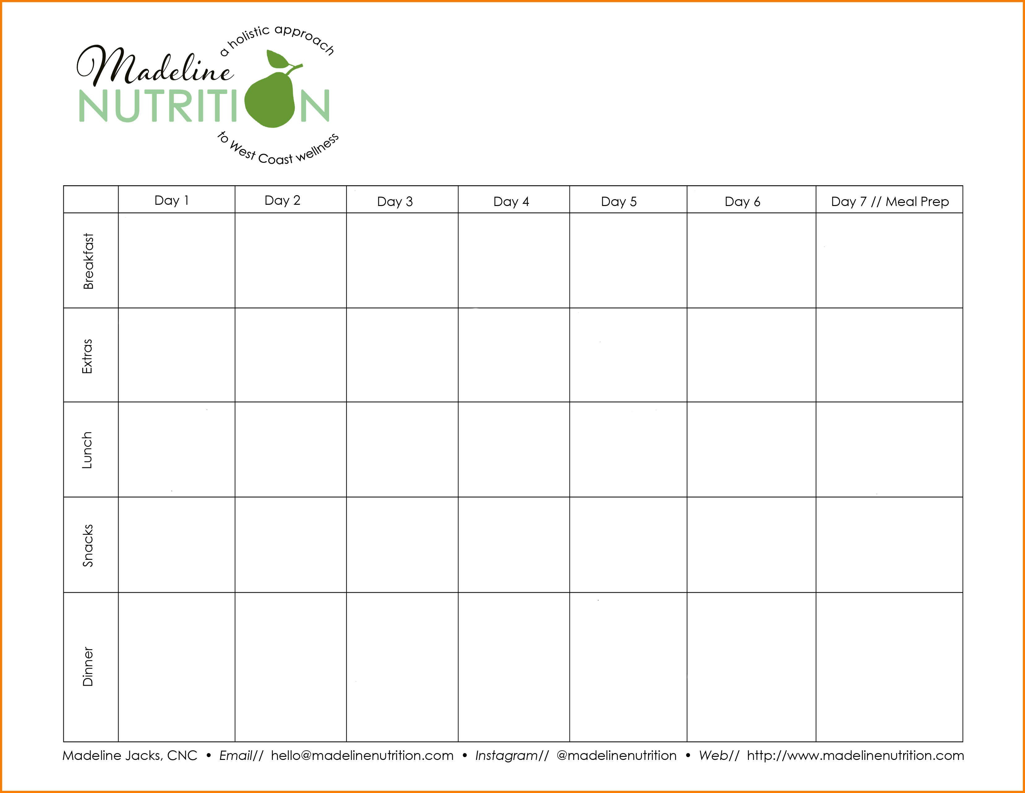 Eating Planner Template  Dragon Fire Defense Pertaining To 7 Day Menu Planner Template
