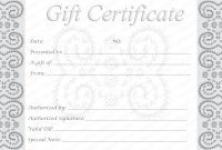 Editable And Printable Silver Swirls Gift Certificate Template in Massage Gift Certificate Template Free Download
