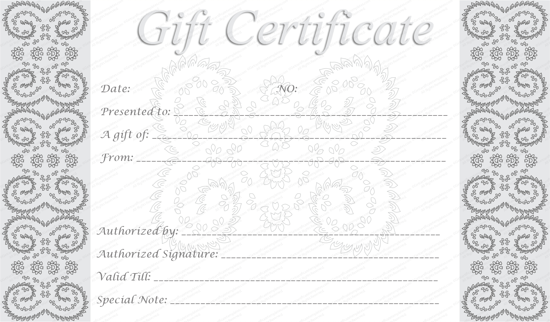 Editable And Printable Silver Swirls Gift Certificate Template Throughout Black And White Gift Certificate Template Free