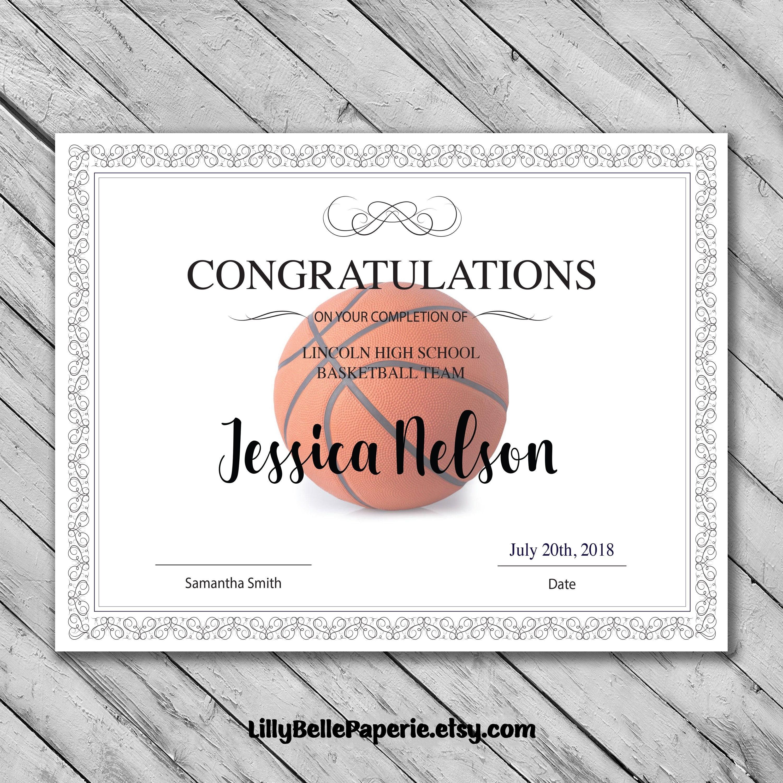 Editable Basketball Certificate Template  Printable Certificate Regarding Basketball Certificate Template