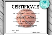Editable Basketball Certificate Template Printable  Etsy throughout Basketball Camp Certificate Template