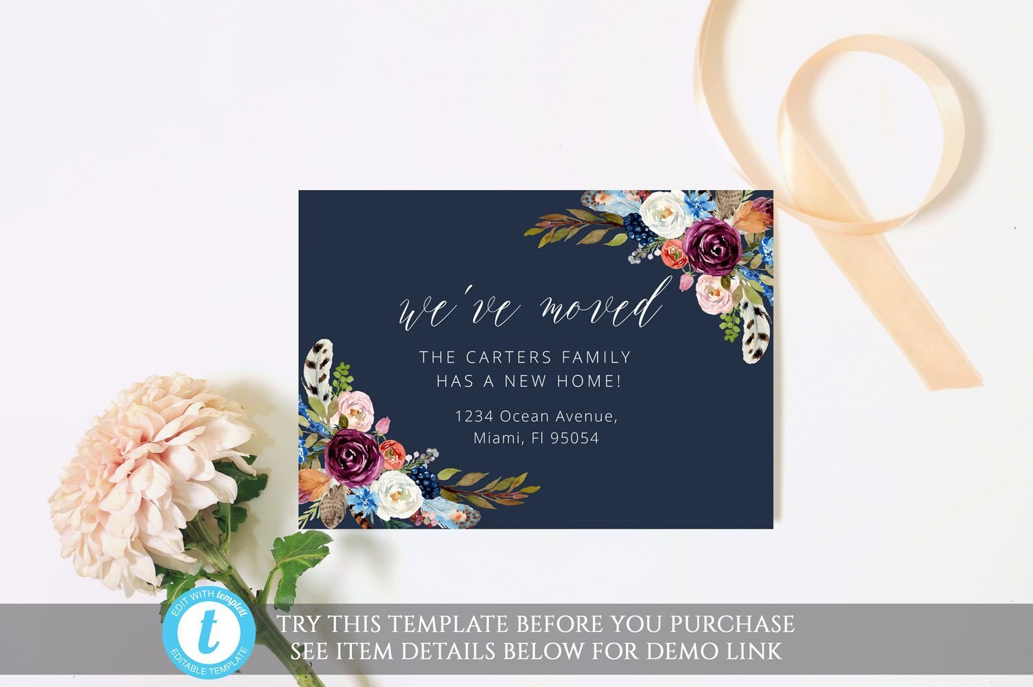 Editable Boho Moving Card Template Elegant Moving  Etsy With Moving Home Cards Template
