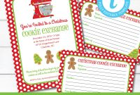 Editable Cookie Exchange Christmas Party Invitation And Recipe  Etsy inside Cookie Exchange Recipe Card Template