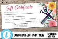 Editable Custom Hair Salon Gift Certificate Template  Printable Hair  Stylist Gift Voucher Gift Card Instant Download Templett Flower for Salon Gift Certificate Template