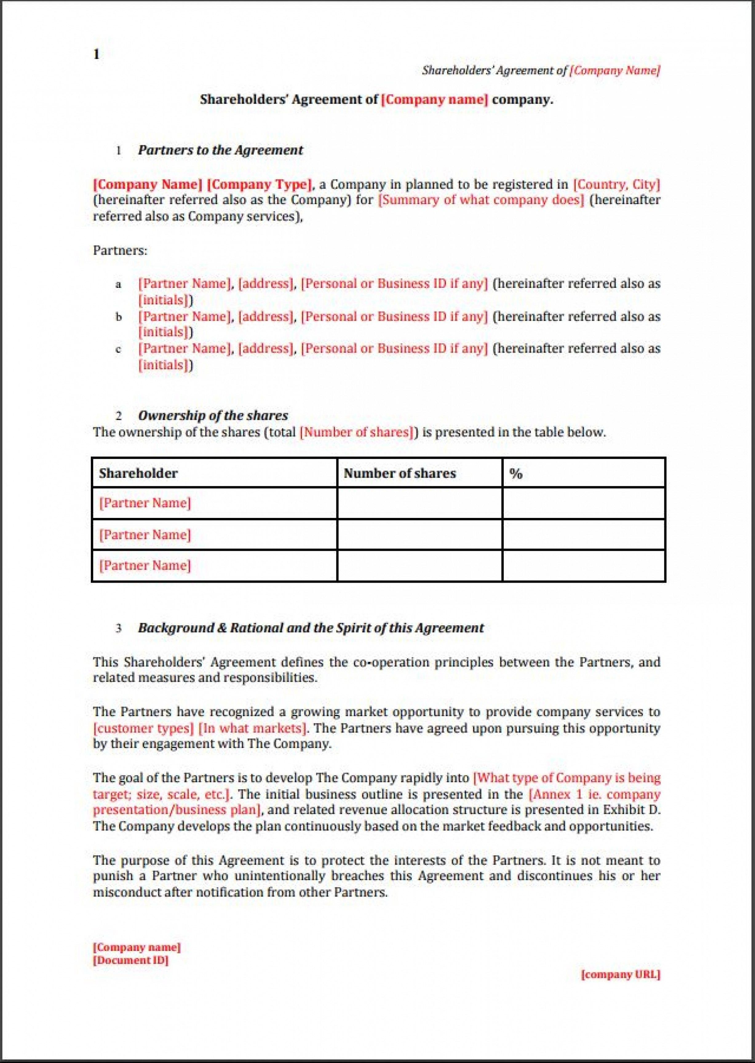 Editable Founders Shareholder Agreement Template Eloquens Startup Within Founders Shareholder Agreement Template