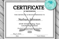 Editable Hockey Sports Team Certificate Template Printable  Etsy intended for Hockey Certificate Templates