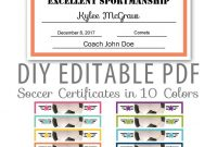 Editable Pdf Sports Team Soccer Certificate Award Template In  Etsy inside Soccer Certificate Template