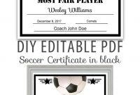 Editable Pdf Sports Team Soccer Certificate Diy Award Template In for Soccer Certificate Template