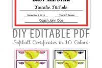 Editable Pdf Sports Team Softball Certificate Award Template  Etsy within Softball Certificate Templates Free