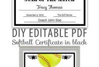 Editable Pdf Sports Team Softball Certificate Diy Award  Etsy for Free Softball Certificate Templates