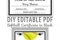 Editable Pdf Sports Team Softball Certificate Diy Award Template In with Softball Award Certificate Template