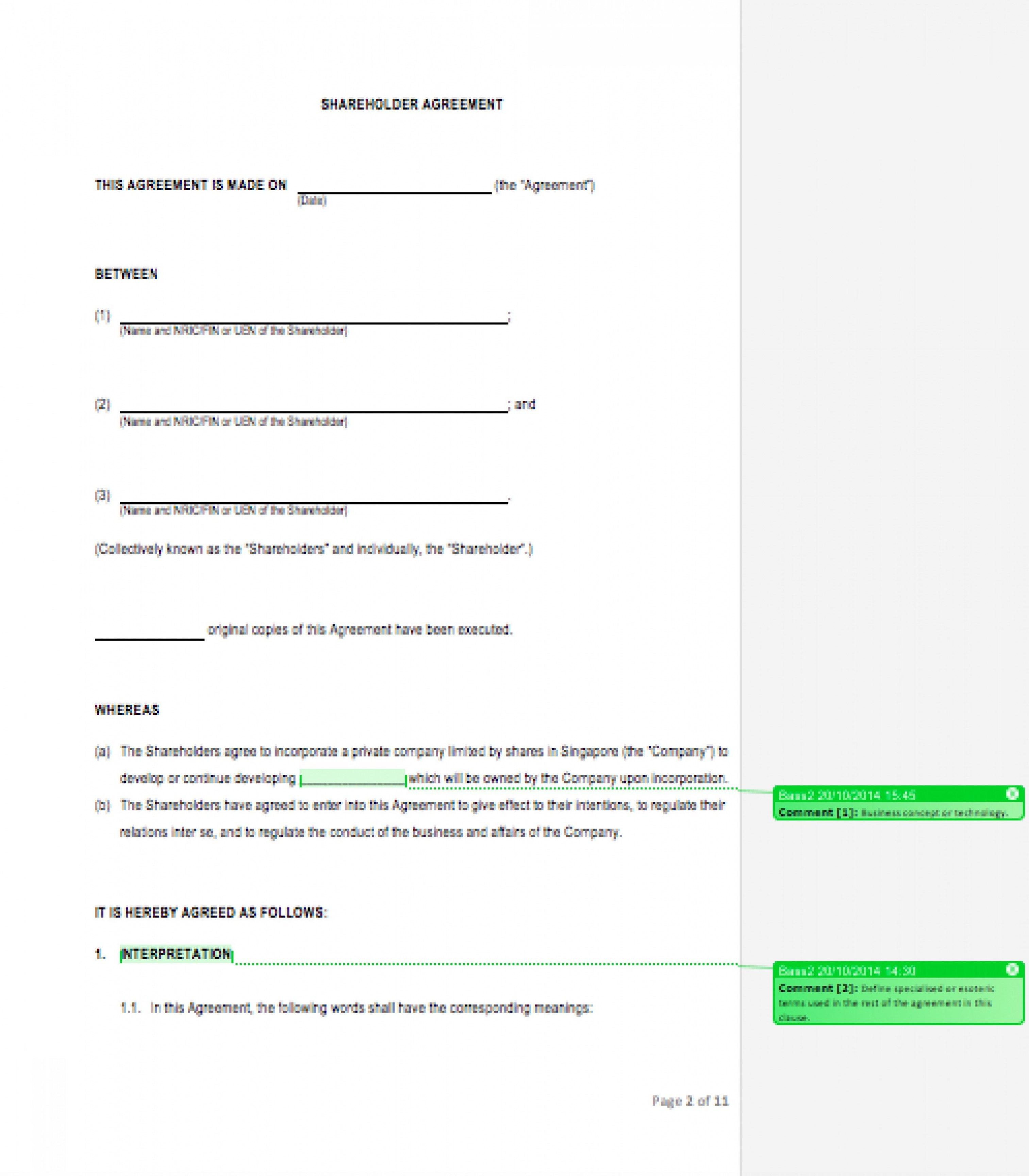 Editable Shareholder Agreement Template Eloquens Startup Investor In Shareholders Agreement Template For Small Business