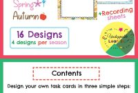 Editable Task Card Templates Seasonal Themed  My Products From Tpt regarding Task Card Template