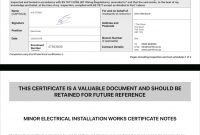 Electrical Certificate  Example Minor Works Certificate  Icertifi for Electrical Installation Test Certificate Template