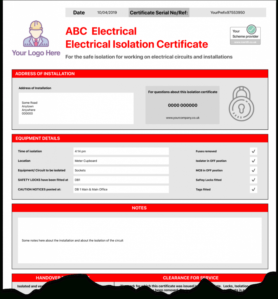 Electrical Isolation Certificate  Send Unlimited Certificates Intended For Electrical Isolation Certificate Template