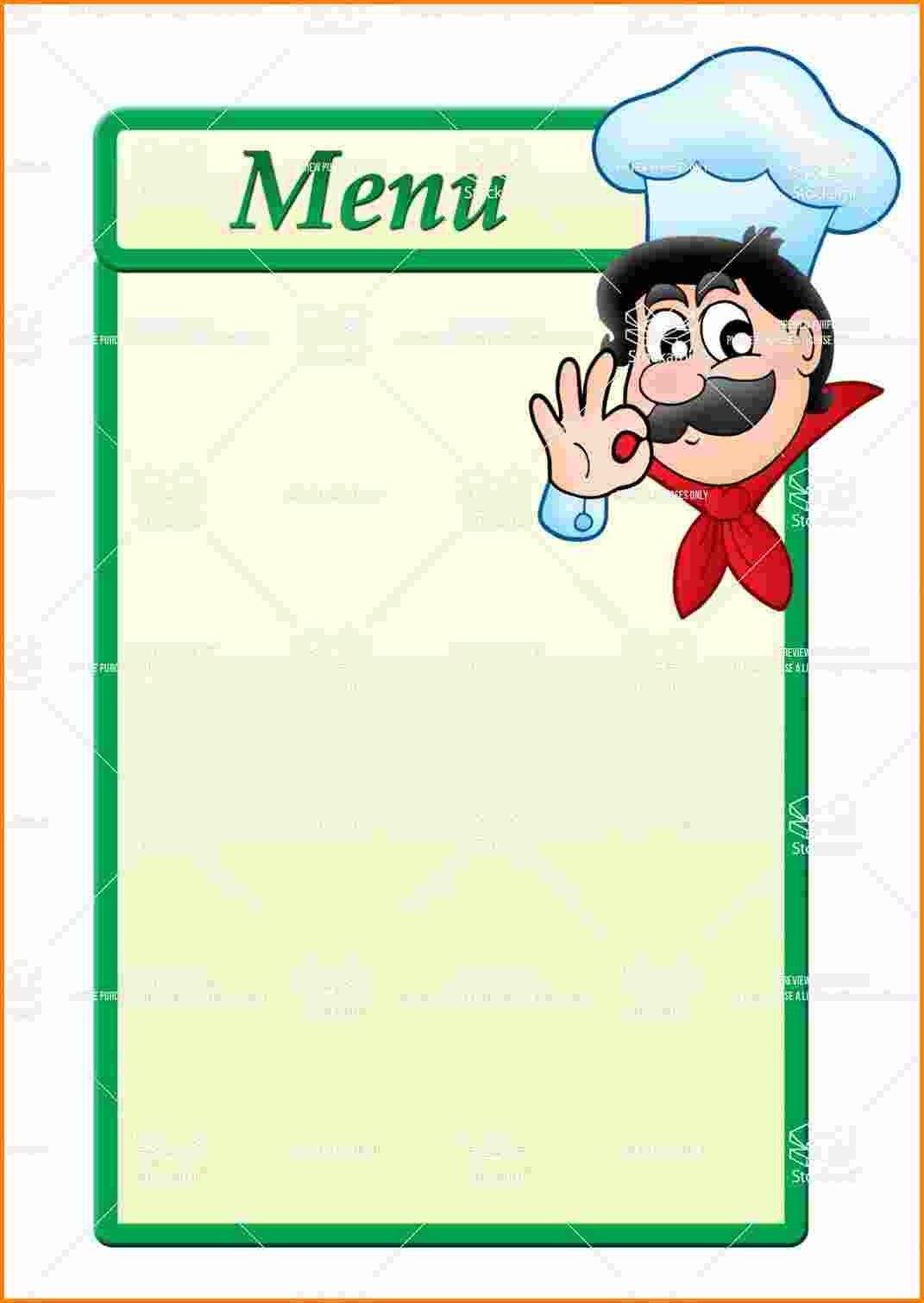 Elegant Blank Menu  Chart And Printable World Within Printable Menu Template Free