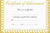 Elegant Certificate Of Achievement Template Free  Best Of Template intended for Certificate Of Accomplishment Template Free