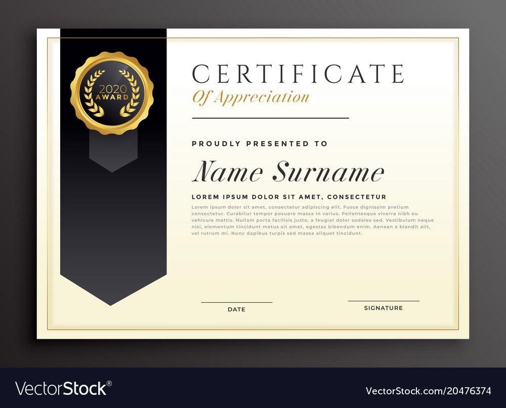Elegant Diploma Award Certificate Template Design Vector Image Intended For High Resolution Certificate Template