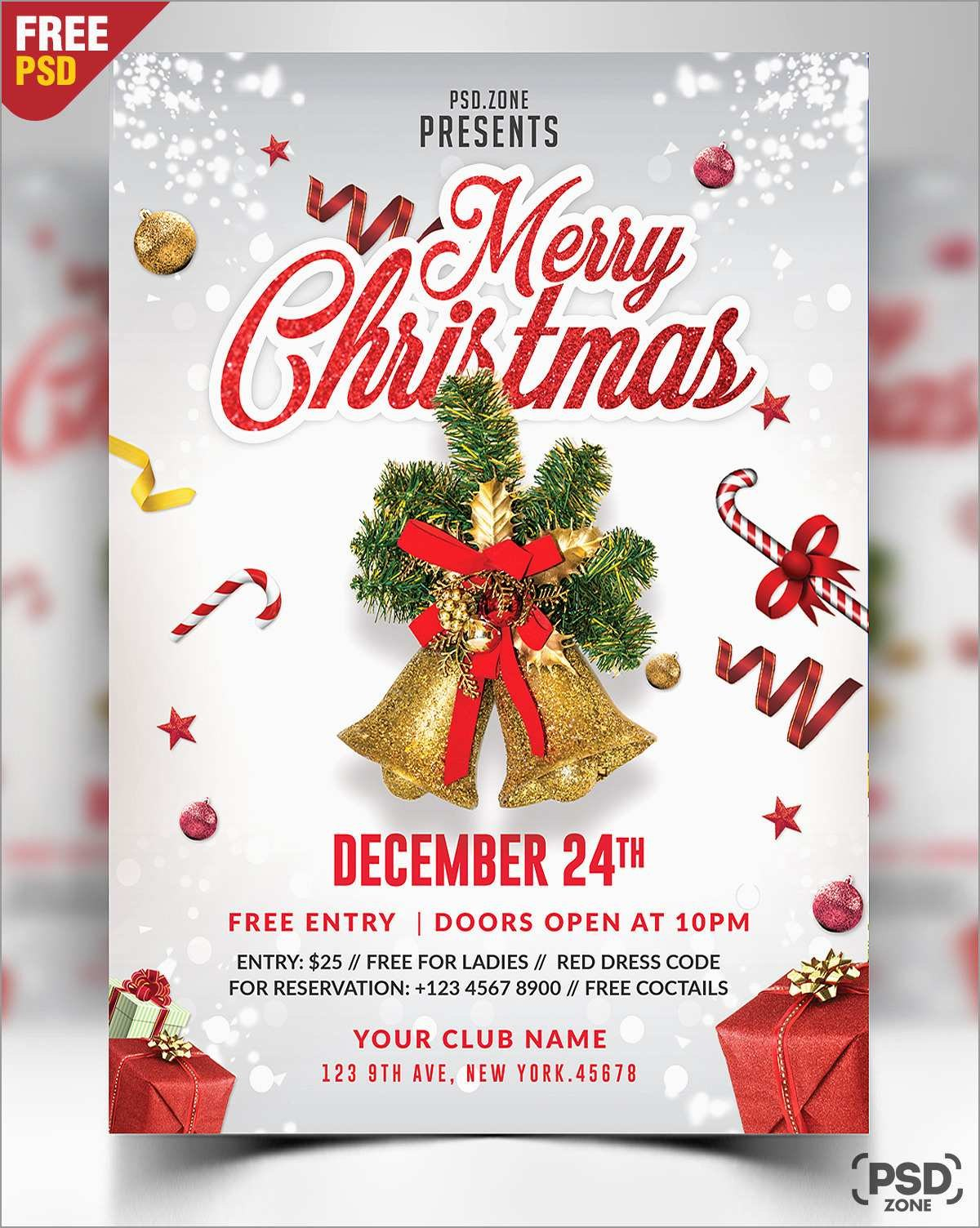Elegant Free Christmas Flyer Templates Psd  Best Of Template Throughout Christmas Photo Card Templates Photoshop