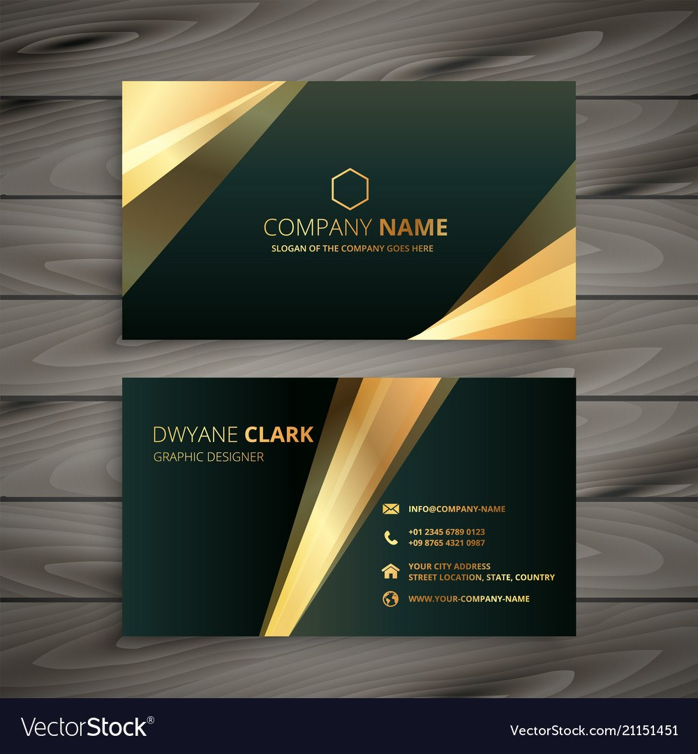Elegant Premium Golden Business Card Template Vector Image With Buisness Card Template