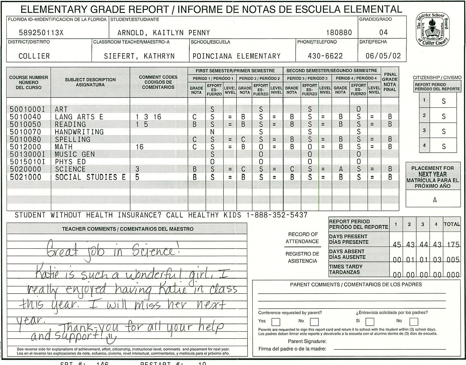 Elementary School Report Card Template  Homeschooling  Report Card With Homeschool Middle School Report Card Template