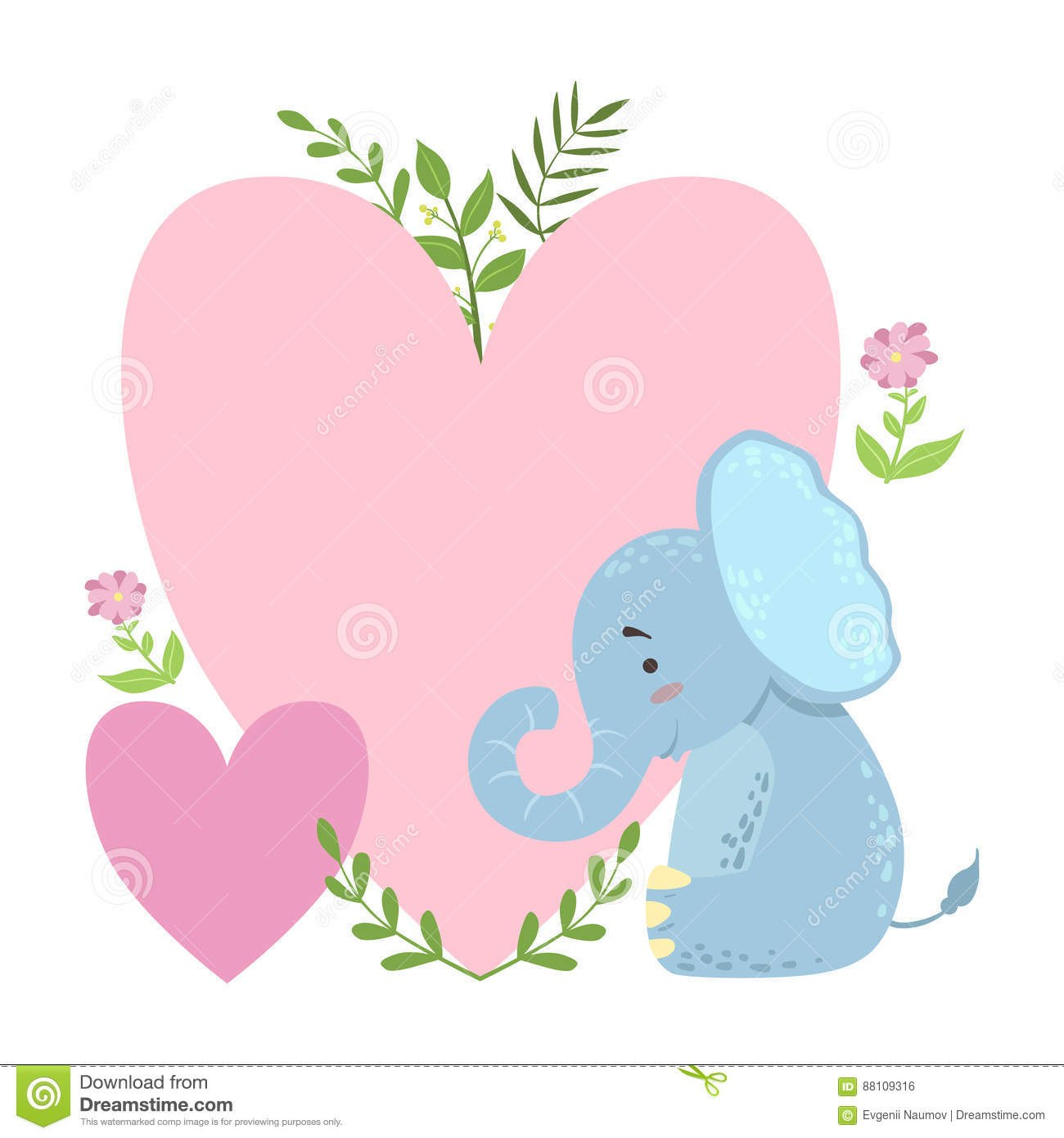Elephant With Two Big Hearts And Plants Vector Sticker Template St Throughout Blank Elephant Template