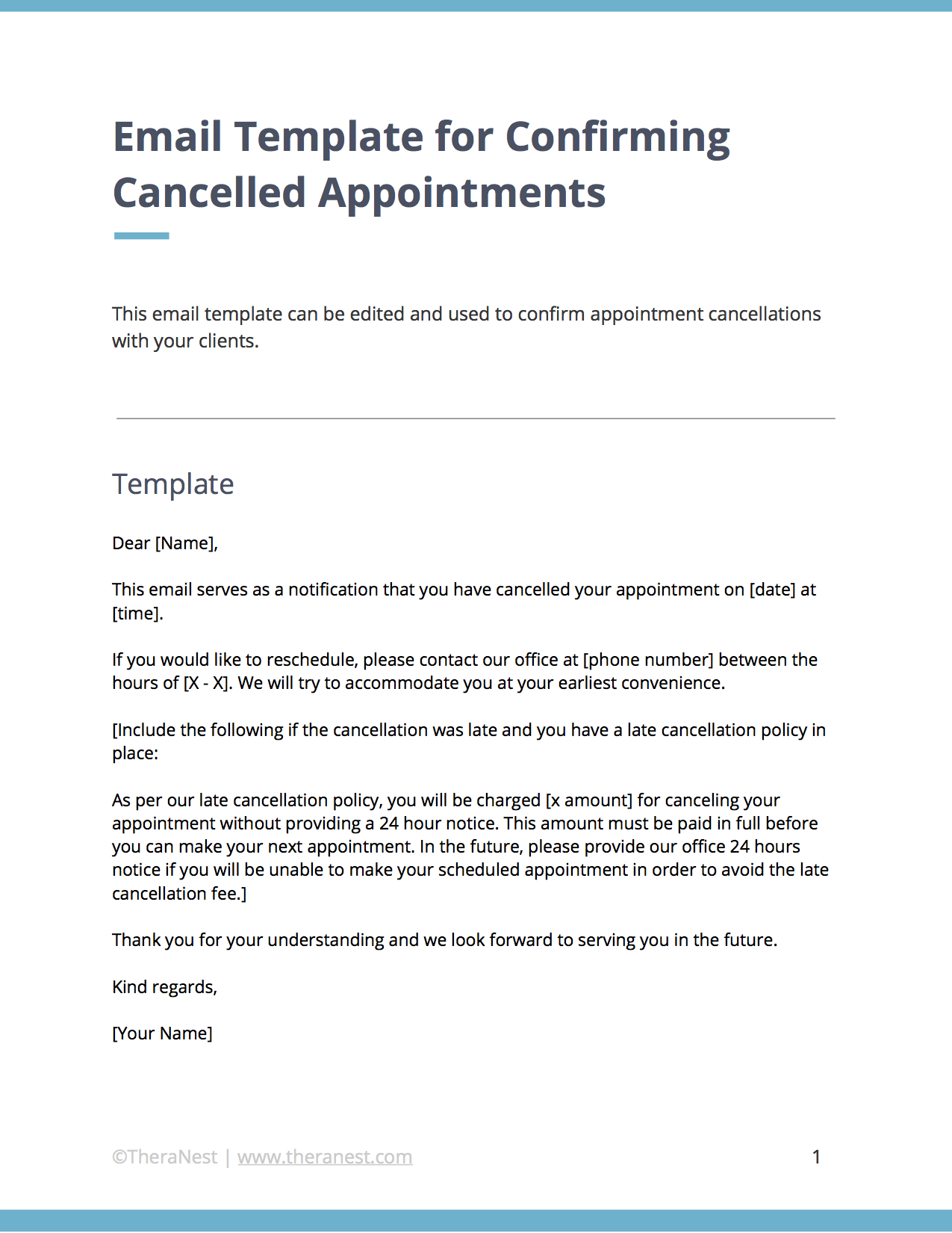 Email Templates For Communicating With Your Therapy Clients  Cc regarding 24 Hour Cancellation Policy Template