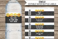 Emoji Party Water Bottle Labels Template – Girls pertaining to Diy Water Bottle Label Template