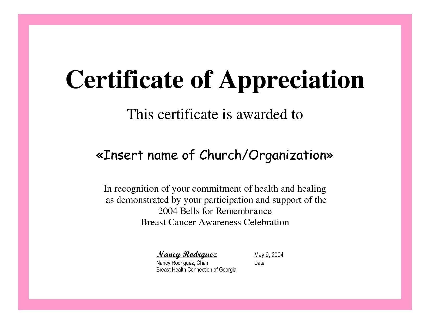 Employee Appreciation Certificate Template Free Recognition Within Recognition Of Service Certificate Template