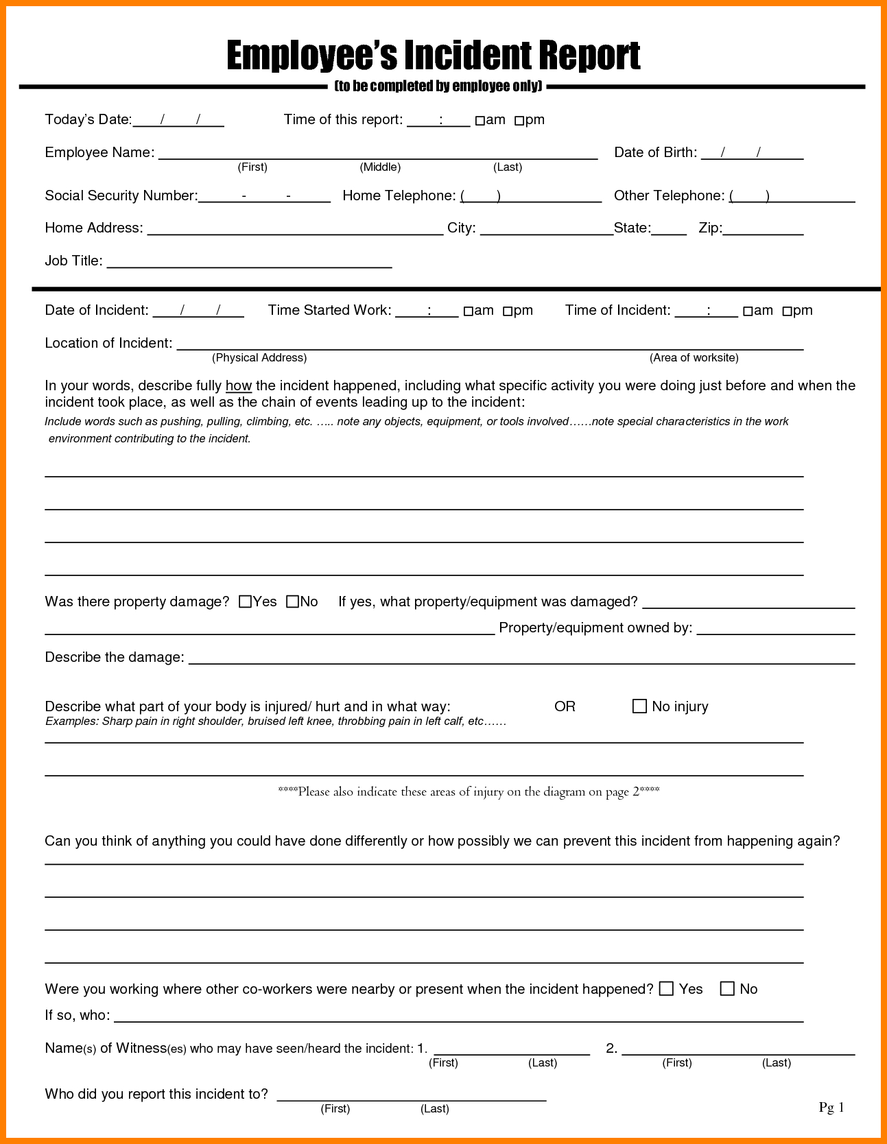 Employee Incident Report Sample  This Is Charlietrotter In Employee Incident Report Templates